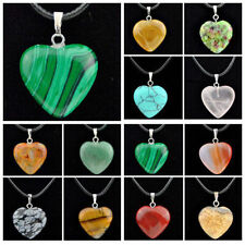 Wholesale 12 pcs heart-shaped natural stone Crystal Gemstone pendants necklace