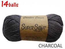 14balls x 100g Charcoal Yarn 8ply Acrylic Knitting Crochet Bulk Buy CRA20856