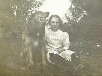 RPPC Little Girl in Homespun w Big Beautiful Dog Antique Real Photo Postcard