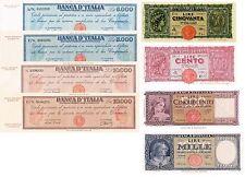 Italia 8 banconote  50-10000 Lire Serie - 1944 - 1948 (Riproduzione/copy)
