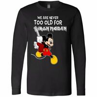 Mickey Never Too Old For Iron Maiden Cartoon Music Funny Black Long Sleeve