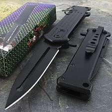 "8"" SPRING ASSISTED FOLDING STILETTO TACTICAL KNIFE Blade Pocket Open Assist"