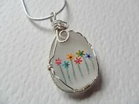 """Rainbow flowers hand painted sea beach glass necklace - 18"""" silver plated chain"""