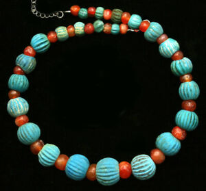 Ancient glass beads: genuine ancient Egyptian faience & carnelian beads necklace