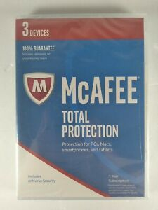Genuine McAfee Total Protection 1 Year Subscription 3 Devices New Sealed