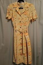 Ladies Autumn Floral, Vintage A Line House Dress, Size 12