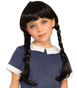 Spooky Girl Black Braided Braids Child Wig Costume Accessory Wednesday Addams