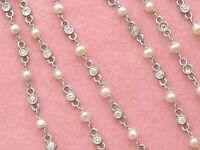 "ART DECO 3.5ctw OLD MINE DIAMOND PEARL BY-THE-YARD PLATINUM 48.5"" CHAIN NECKLACE"