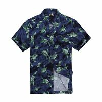 Men Tropical Hawaiian Aloha Shirt Cruise Luau Beach Party Navy Palm Green Turtle