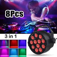 8X 12 LED RGBW PAR Lichteffekte Bühnenlicht DMX512 Disco Beleuchtung DJ Bar HD