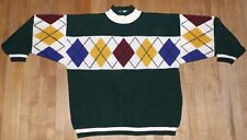 vintage 90's men's women's COLOR BLOCK argyle sweater biggie hip hop rap sz M/L