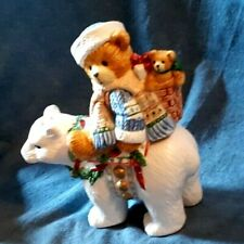Cherished Teddies Bisque Holiday Salt & Pepper Set,1996 Teddy & Polar Bear, exl