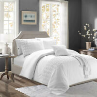 Embroidered White Duvet Quilt Cover Set Single Double King Size Bedding Set