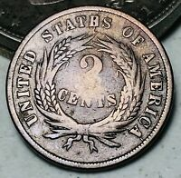 1864 US Two Cent Piece 2C DIE CRACK Good Civil War Date US Copper Coin CC6276