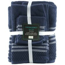 Cynthia Rowley Bath Hand Towel Washcloth 6 Pc Bathroom Set Dark Blue