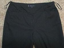 Sz 16 ANNE KLEIN Women's Dress Pants 38x27 BLACK PINSTRIPE ~ Flat Front VERYGOOD
