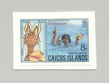 Caicos #13 Diver, Lobster, Shells, Marine Life 1v Imperf Proof on Card