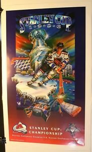 "1996 Stanley Cup Colorado Avalanche vs. Florida Panthers 27 1/2 x 17"" Poster NHL"
