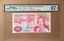 Saint Helena Pick# 12a 2004 £10 Sign. #6 S/N P/1 345143 PMG 67 EPQ - QEII