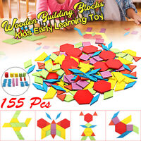 155pcs Wooden Blocks Early Bright Education Puzzle Toy Geometric Shape Gift ❤