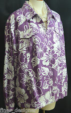 Alfred Dunner Jacket light coat purple white floral button up top Plus 18W NEW