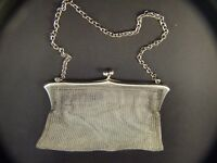 Antique STERLING SILVER  LADY'S Mesh Purse English Hallmarked LONDON 1915's Rare