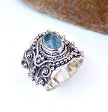 Solid 925 Sterling silver Natural Aquamarine, Garnet Gemstone Rings Size 9-E2263