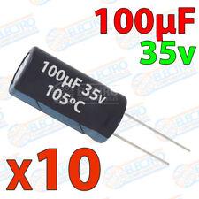 10x Condensador 100uF 35v electrolitico 105ºC 20% 6x11 PCB PIC Arduino
