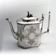 Ornate Tea Coffee Pot Goat Finial Wood Hughes Coin Silver 1860
