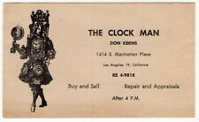"""Vintage Oversized Business Card: """"The Clock Man"""" - Illustrated [Los Angeles]"""