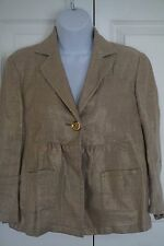 Women's Michael Kors Gold Tone Linen Burlap One Button Jacket Size 4 Beautiful