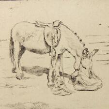 More details for art deco etching donkey portrait christine mcgregor farm yard antique #32