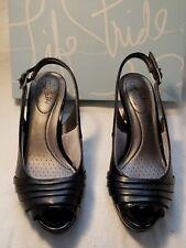 LifeStride Invent Black F Leather Womens Open Peep Toe High Heel Shoe Pump 7 $60