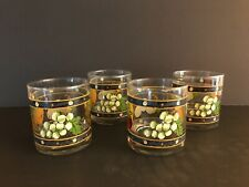 Vintage Lowball Tumbler Glasses with Fruit and Green Band with Daisy