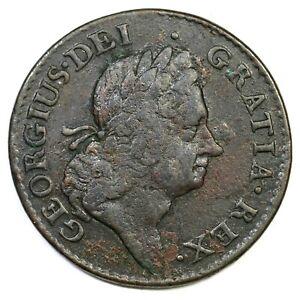 1723 4.42-Gb.5 R-5 Wood's Hibernia Half Penny Colonial Copper Coin 1/2p