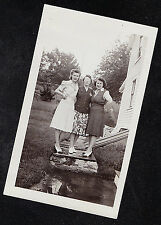 Vintage Antique Photograph Three Women Standing on Cement Block in Yard