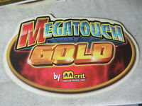 MEGATOUCH GOLD MERIT  CABINET STICKER arcade game  fnz