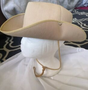 French Camargue Impermeabilise Stiff Cotton Hat, Stud Sides, Sz 57, 7