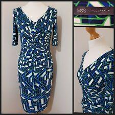 MARKS & SPENCER Blues-Greens geometric stretchy wiggle dress size 12