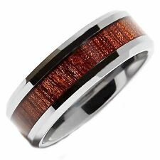8mm Tungsten Carbide Rosewood Inlay Wedding Ring Comfort Fit