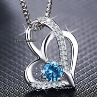 925 Silver Blue Topaz Crystal Diamond Heart Necklace Xmas Gifts For Her Women