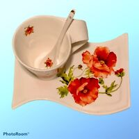 Adeline Fine Porcelain TEA Set For One California Poppies Cup Saucer Spoon