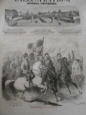 Gravure 1863 - Porte Drapeau Polonais