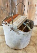 Vintage Wash Bucket Galvanized Metal Mop Wringer Wood Rollers De Luxe Steampunk
