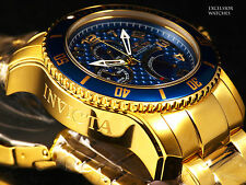 New Invicta Men 300m Scuba Pro Diver JR00 Retrograde Quartz 18K Gold IP SS Watch
