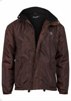 New Mens Fleece Lined Padded Quilted Jacket Hooded Winter Zip Coat Size M - 3XL