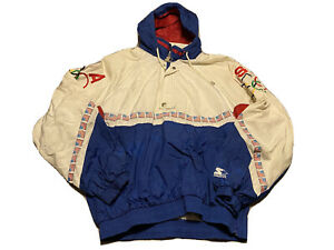 Vintage 1990s USA Flags Olympic Starter Pullover Hooded Jacket Mens L