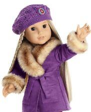 NIB American Girl Julie Winter Purple Coat w/ Fur and Beret Cap Hat Outfit NEW!