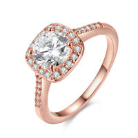 18K Rose Gold Plated Halo Cut Ring Sizes 4-10 Made with Swarovski Crystals