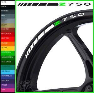 8 x Z750 Wheel Rim Decals Stickers - 20 colors available - z 750 r ninja black